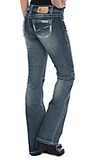 Charme Women's Medium Wash Edged Pocket Stitching Boot Cut Jeans