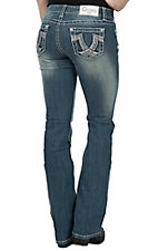 Charme Women's Medium-Light Vintage Wash Crossed Leather Open Pocket Boot Cut Jeans