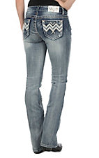 Charme Women's Vintage Wash with Silver Chevron Embroidery Open Pocket Boot Cut Jeans