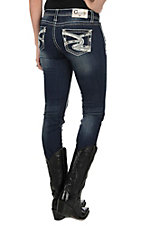 Charme Women's Faded Dark Wash with White and Silver Swirl Embroidered with Silver Studs Open Pocket Skinny Jeans