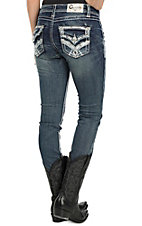 Charme Women's Faded Dark Wash with Silver and White Embroidery and Rhinestone Embellishments Skinny Jeans
