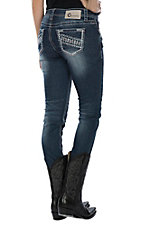 Charme Women's Colorful Distressed Embroidery Skinny Jeans