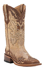 Johnny Ringo Women's Pocato Tan with Hans Cognac Wingtip Square Toe Western Boots