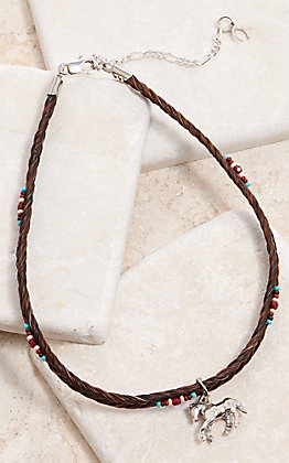 Cowboy Collectibles Sorrel Horse Hair Beaded With Horse Charm Choker Necklace