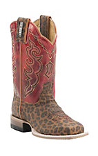 Cinch Kid's Leopard Print with Vintage Red Top Square Toe Western Boots