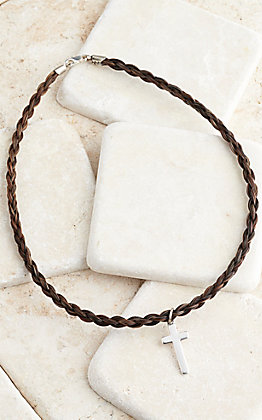 Cowboy Collectibles Granite Horse Hair With Cross Charm Choker