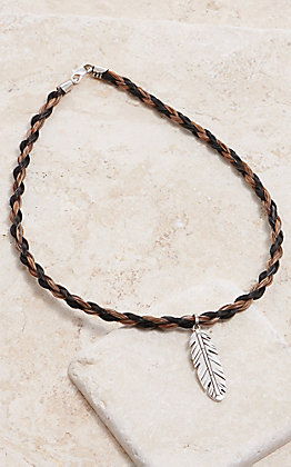 Cowboy Collectibles Blended Horse Hair With Feather Charm Necklace