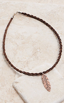 Cowboy Collectibles Sorrel Horse Hair With Copper Feather Charm Necklace