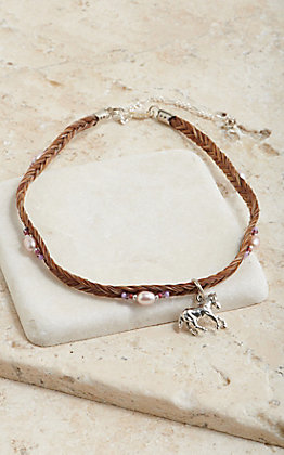 Cowboy Collectibles Cinnamon Horse Hair Pearl Beaded With Horse Charm Choker Necklace