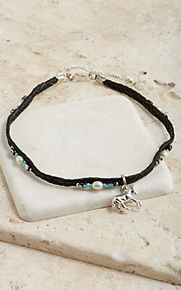 Cowboy Collectibles Black Horse Hair Pearl Beaded With Horse Charm Choker