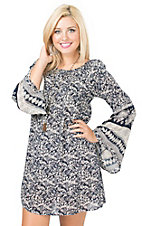 California Moonrise Women's Navy & Cream Floral Paisley Print Long Sleeve Dress