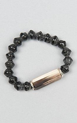 Akola Onyx Silver Uganda Bracelet