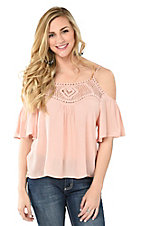 California Moonrise Women's Peach with Crochet Neckline Cold Shoulder Short Sleeve Fashion Top