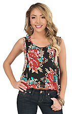 California Moonrise Women's Black Floral Mixed Print Chiffon Sleeveless Casual Knit