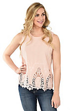California Moonrise Women's Cupcake Peach with Embroidered Bottom and Button Back Sleeveless Fashion Top
