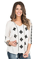 California Moonrise Women's Cream with Black Embroidery Long Sleeve Peasant Shirt