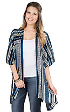 California Moonrise Women's Navy, Blue, and White Aztec Kimono/Cardigan