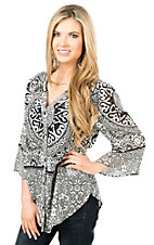 California Moonrise Women's Black and Ivory Print 3/4 Sleeve Fashion Top