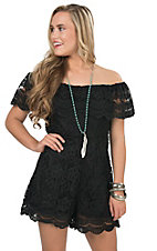 California Moonrise Women's Black Lace Shorts Romper