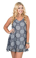 California Moonrise Women's Navy and White Circle Print Racerback Dress