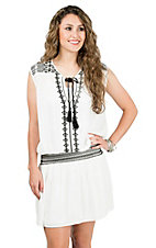 California Moonrise Women's White with Black Embroidery Drop Waist Sleeveless Dress