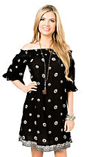 California Moonrise Women's Black with Cream Pattern 1/2 Sleeve Dress
