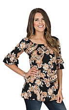 James C Women's Black, Orange & White Paisley Top with Ruffled 3/4 Sleeves Fashion Top