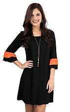 James C Women's Black with Orange Accent on Ruffled 3/4 Sleeve Dress