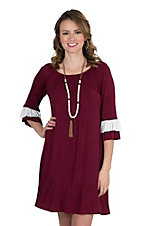 James C Women's Maroon with White Accent on Ruffled 3/4 Sleeve Dress