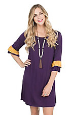 James C Women's Purple with Gold Accent on Ruffled 3/4 Sleeve Dress