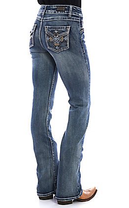 Wired Heart Women's Medium Vintage Wash Cross Embroidered Boot Cut Jeans