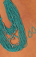 Multistrand Turquoise Beads with Squash Blossom Layered Necklace & Earring Set