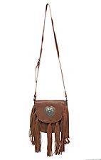 Blazin Roxx Brown with Heart Concho and Fringe Crossbody Bag