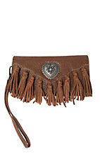 Blazin Roxx Brown with Heart Concho and Fringe Wallet / Wristlet