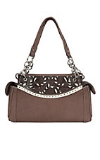 Blazin Roxx Women's Brown with Floral Leather and Silver Accents Handbag