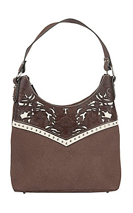 Blazin Roxx Women's Brown with Floral Leather and Silver Accents Satchel Purse