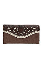 Blazin Roxx Brown and Cream Floral Tooling Wallet