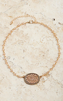 Wired Heart Women's Small Sideways Oval Champagne Bling Necklace