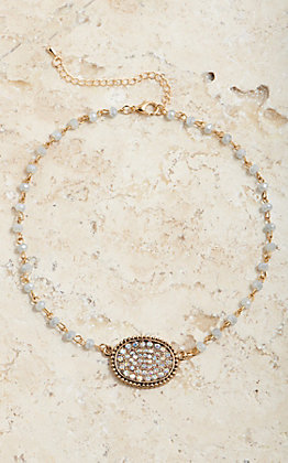 Wired Heart Women's Small Sideways Oval Gold Bling Necklace