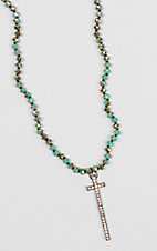 Wired Heart Turquoise and Brown Bead Sparkle Cross Necklace