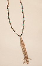 Wired Heart Turquoise Beaded and Tan Tassel Necklace