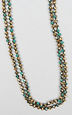 Wired Heart Turquoise and Gold Beaded Layering Necklace