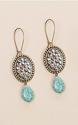 Pink Panache Bronze Mini Oval Rhinestone Earrings