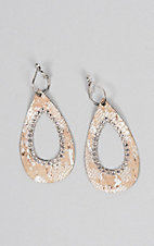 Pink Panache Cork and Silver Python Print Open Teardrop with Clear Crystals Earrings