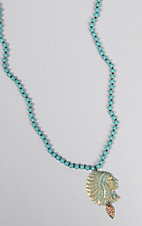 Pink Panache Turquoise Beads with Patina Indian Charm Necklace