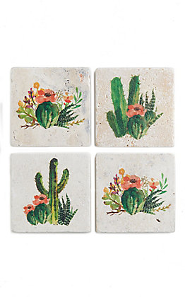 Set of Four Cactus Bloom Coasters