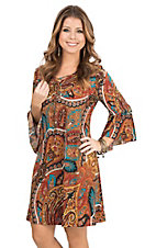 James C Women's Orange, Red, and Teal Paisley Print Long Bell Sleeve Dress
