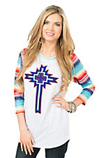 Crazy Train Women's White with Multi-Colored Comal Cross Screen Print and Multicolored 3/4 Sleeves Casual Knit Top