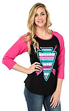 Crazy Train Women's Black with Comanche Creek Arrowhead Design and Pink 3/4 Sleeves Casual Knit Tee