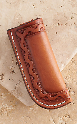 Vik Leather Sheaths Comanche Oil Tanned Leather Hand Made Stamp Tooled Knife Sheath